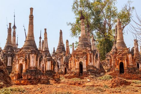 Ancient Stupas at Indein, Inle Lake, Myanmar