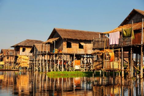 Traditional floating village houses in Inle Lake