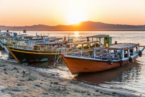 Sunset in Irrawaddy River, Bagan, Myanmar, view form Bupaya bagon
